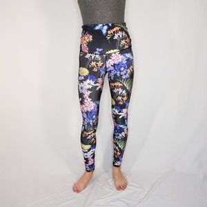EMILY HSU Designs Black Floral Print Leggings High